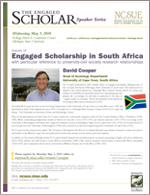 The Engaged Scholar Speaker Series Flyer - Recent Speaker - David Cooper